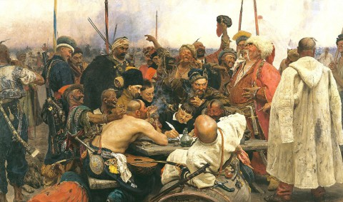 Repin-De-Zaparozje kozakken schrijven de Turkse sultan een brief