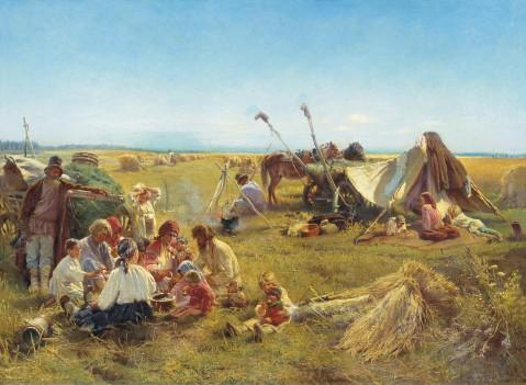 Boerenmaaltijd tijdens de oogst (1871, Makovski)